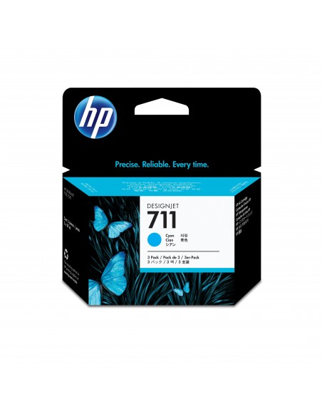 HP 711 pack de 3 cartouches d'encre DesignJet cyan, 29 ml