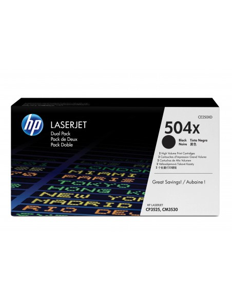 HP 504X pack de 2 toners LaserJet noir grande capacité authentiques