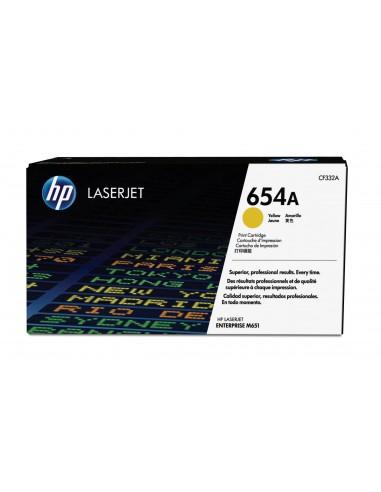 HP Cartouche de toner jaune authentique LaserJet 654A