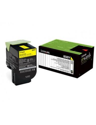 Lexmark 80C80Y0 1000pages Jaune cartouche toner et laser