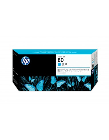 HP 80 tête d'impression cyan et dispositif de nettoyage de tête d'impression DesignJet