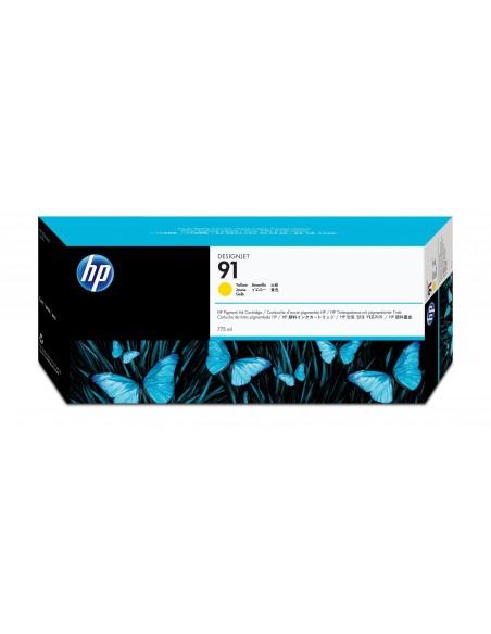 HP 91 cartouche d'encre pigmentée DesignJet jaune, 775 ml