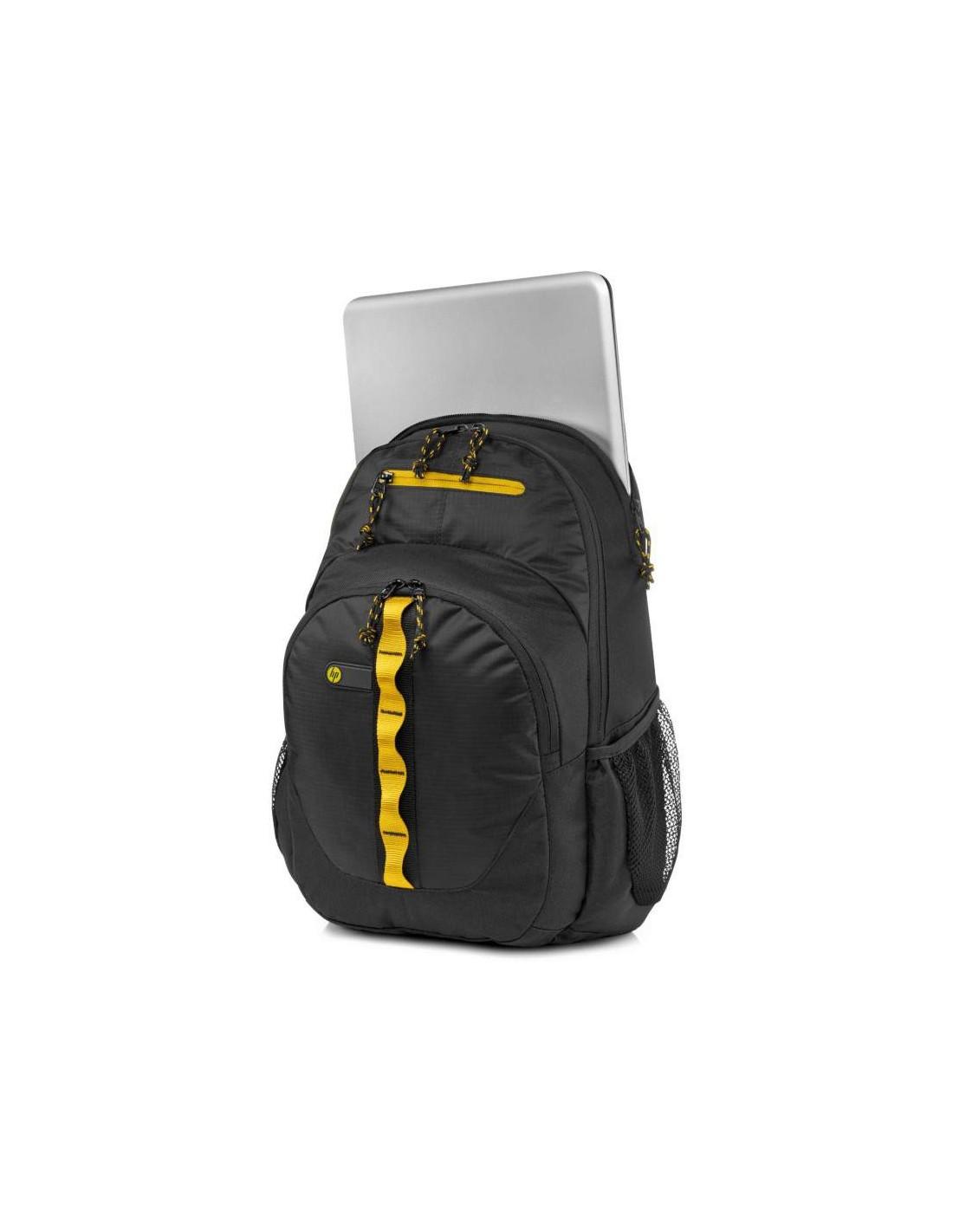 hp sac dos de sport 15 6 noir jaune. Black Bedroom Furniture Sets. Home Design Ideas