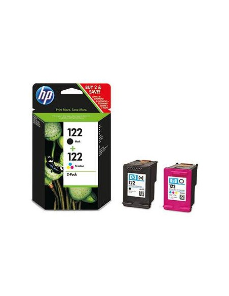 HP 122 Combo-pack Black/Tri-color Noir, Jaune cartouche d'encre