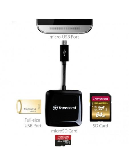 Transcend USB2.0 OTG READER BLACK Intérieur Noir lecteur de cartes à puce